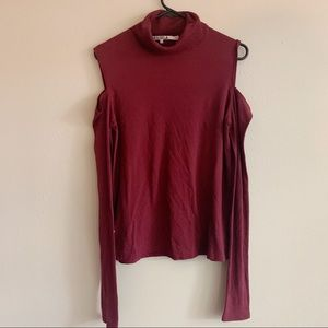 Pam & GELA Burgundy mock turtleneck